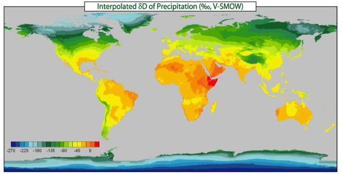 Interpolated Stable Hydrogen Isotope Ratio (δD) of precipitation Map.
